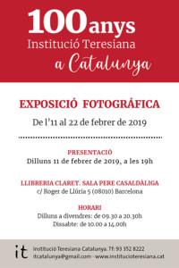 INSTITUCIÓ TERESIANA - Presentació Exposició, 11 de febrerdel 2019 a les19 h @ Llibreria Claret - Sala Pere Casaldàliga