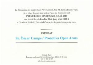 CENTRE SANT PERE APÒSTOL - 29 JUNY 18:00h. premi Sr. Òscar Camps 7 Proactiva Open Arms