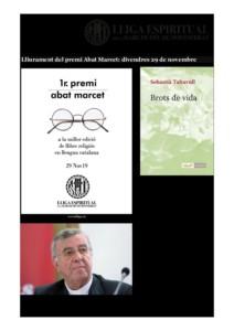 LLIGA ESPIRITUAL MARE DE DÉU DE MONTSERRAT - 29 Nov. premi Abat Marcet a Mons. S. Taltavull